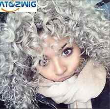 Women Short Cospaly Curly Wave Anime Heat Resistant Full Hair Silver Grey Wigs