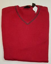 $125 Jos A Bank JOSEPH cotton and cashmere V neck Sweater in red XL