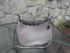 COACH Willow Floral Nomad Hobo in Glovetanned Leath Grey Birch ..New Free ship