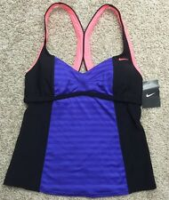 NWT WOMENS NIKE TANKINI SWIMSUIT TOP SZ 8 MEDIUM PURPLE BLACK