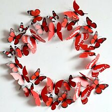 12pcs Removable 3-dimensional 3D butterfly wall stickers w/ fridge magnet -Red