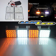 Amber/White 80 LED Emergency Vehicle Strobe Flash Lights for Front Grille/Deck