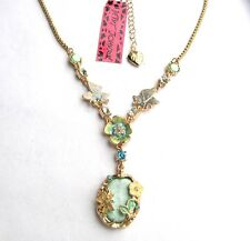 Betsey Johnson crystal/enamel Butterfly&Flowers big gem pendant Necklace#021L G