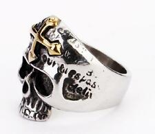 hot  sale cool 316L  stainless steel gold corss skull head ring  small Usize8