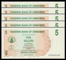 TWN - ZIMBABWE 38 - 5 D. 1.8.2006 UNC Pr. AA Dealers x 5