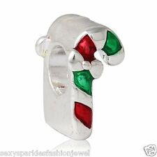 Christmas Candy Cane with bow European Snake Chain Charm -3766