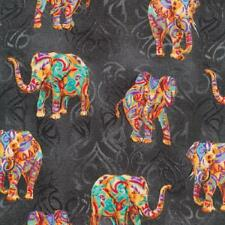 Fat Quarter Tribal Instincts Elephants On Charcoal 100% Cotton Quilting Fabric