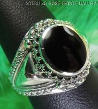 "ONYX Hand Crafted 5/8"" Sterling Silver 0.925 Estate COCKTAIL RING size 7"