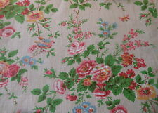 Vintage French Cottage Roses Birds Butterfly Cotton Fabric ~pink apple green