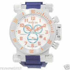 Invicta Coalition Forces Chronograph Silver Dial Blue Polyurethane  Watch 18728
