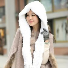 New Genuine Real Rexl Rabbit Fur Knitted Hats Caps Hooded Scarf Wrap Russian