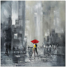 Romance in the City - Hand Painted Modern Cityscape Figurative Oil Painting Art