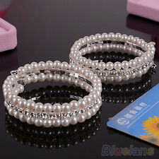 Women's Fashion 2 Rows White Faux Pearls Rhinestone Stretch Chic Bangle Bracelet