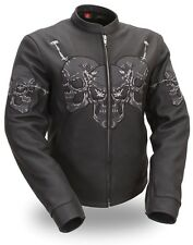 Womens Black Leather Motorcycle Jacket Scooter Collar Reflective Skulls - XS