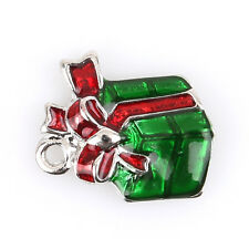 50pcs Red&Green Enamel Charms Christmas Gift Box Alloy Pendant Fit Decoration L