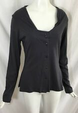 """Lunn by Lilith """"Camille Navy Cardigan"""" With Tiered Tulle Back Gray Blue Top NWT"""
