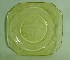 Pale yellow depression glass square plate 6 x 6 Condiment Butter Desert Display