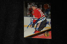 HOF MICHEL GOULET 1993-94 LEAF SIGNED AUTOGRAPHED CARD #373 BLACK HAWKS