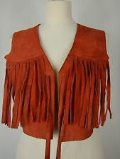 Vintage femme redish orange cuir daim franges gilet débardeur taille s