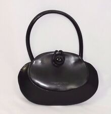 TIFFANY & FRED Paris Black All Leather Rounded Handbag Bag Purse Made in France