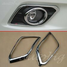 Triple Chrome Front Fog Light Lamp Cover Trim FOR 2014 2015 Nissan X-Trail Rogue
