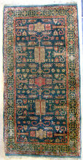 FINE ANTIQUE PRE 1900 SILK HAND KNOTTED ORIENTAL RUG 2' X 4' GEOMETRIC