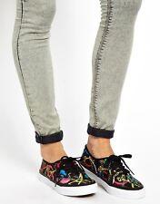 Vans AUTHENTIC SLIM (Scarf) Black/True White Women's Shoes Size 8 US