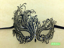 Black Rhinestone Swan Laser Cut Venetian Mask Masquerade Metal Filigree Eye Mask