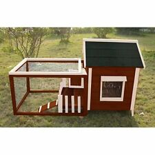 Spacious White Picket Fence Rabbit Hutch Chicken Coop w/ Courtyard Guinea Pigs