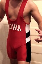 MENS MATMAN WRESTLING  SINGLET MEDIUM MED M RED NYLON IOWA LYCRA EUC