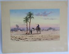 A GORGEOUS WATER COLOR PAINTING SHOWING A CAMEL IN THE DESERT BY P.VASSILOR(N)Y?
