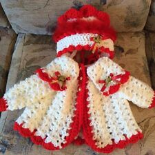 Romany Hand Crochet Bonnet And Cardigan Babies 0-3 With Fluff