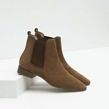 BNWT ZARA FLAT LEATHER KHAKI ANKLE BOOTS SZ. UK 4 US 6.5 EUR 37