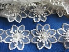 "1y Organza Flower 2.75"" Pearl Trim Ribbon Wedding Applique DIY Sewing-White"