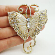 Vintage Elegant Butterfly Insect Art Nouveau Brooch Pin Clear Austria Crystal