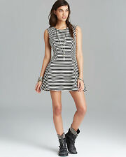 Free People Cha Cha Drop Waist Fit and Flare Black White Striped Skater Dress S