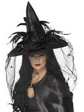 Deluxe Witch Hat Womans Girl Black Net Feathers Fancy Dress Halloween Horror