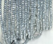 """6X4MM SILVER HEMATITE GEMSTONE SILVER FACETED RONDELLE 6X4MM LOOSE BEADS 15.5"""""""