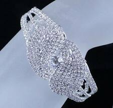 SHINY BRIDAL AUSTRIAN CRYSTAL BANGLE BRACELET CUFF SILVER WEDDING PROM B12122