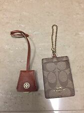 LOT OF 2 TORY BURCH & COACH TRAVEL LUGGAGE TAG ID HOLDER KEY CHAIN