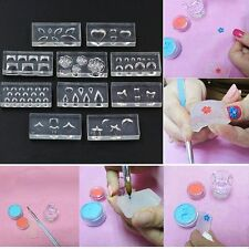 10pcs/set UV Gel Acrylic Template Nail Art Mold DIY Manicure 3D Silicone