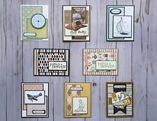 8 Handmade Men's Birthday greeting cards/envelopes Stampin' Up! +more