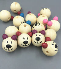 10pcs Wooden Round Bear Loose Beads CRAFT BEADS Beaded  Handmade 28mm