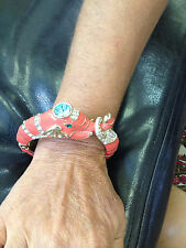 ELEPHANT ANIMAL BRACELET   GOLD BANGLE CUFF   BEAUTIFUL ENAMEL DESIGN  w/ STONES