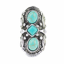 Unique Vintage Tibetan Silver Carved Turquoise Inlay Women Ring Jewelry Gift NEW