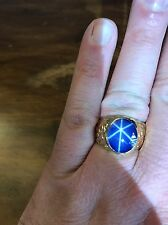 Mens 14k Yellow Gold Star Sapphire Nugget Ring Size 10.25