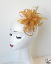 Gold Fascinator Hair Comb Feather Bronze Flower Vintage Wedding Races Ascot N99