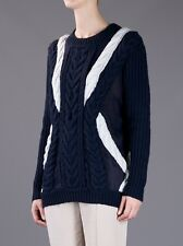 HOT 3.1 Phillip Lim Blue White Silk Sheer Cable Knit Pullover Sweater $750+tax!