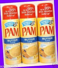 3 PAM Rich Buttery BUTTER Flavor Non-Stick Cooking Spray Fat-Free Cooking