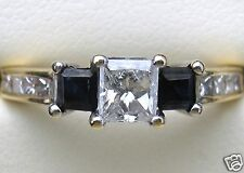 1.14 Ct Princess Cut Diamond & Sapphire Ring Engagement Anniversary Cocktail